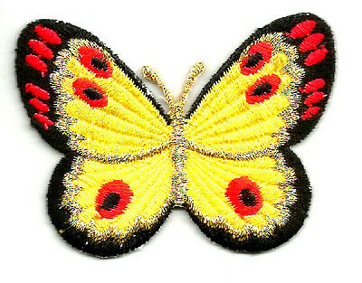 BUTTERFLY BLACK/YELLOW/RED/MET GOLD RON ON APPLIQUE