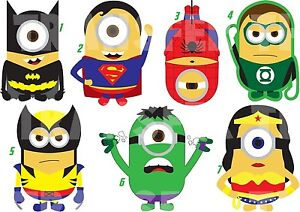 Sticker wall deco or iron on transfer minion marvel super heroes batman lot mh ebay - Mh deco ...