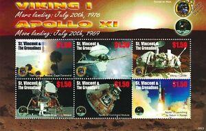 Viking 1 Mars Landing & Nasa Apollo Xi Lune Espace Timbre Feuille/st Vincent-afficher Le Titre D'origine