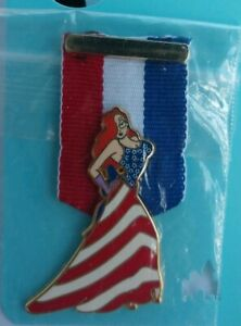 Disney-Patriotic-JESSICA-Rabbit-MEDAL-Ribbon-American-FLAG-Pin-LE-250-HTF-DLR