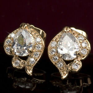 18K-YELLOW-GOLD-GF-PEAR-SHAPED-STUD-MADE-WITH-SWAROVSKI-CRYSTAL-EARRINGS