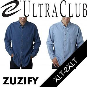 1e10058303b Image is loading UltraClub-Tall-Mens-Cypress-Long-Sleeve-Denim-Shirt-
