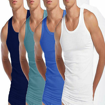 Herzhaft 3 X Mens Vests 100% Cotton Tank Top Summer Training Gym Tops White & Assorted
