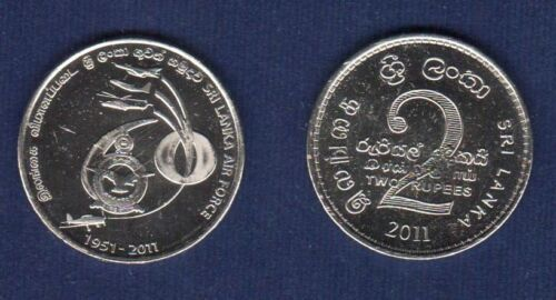 SRI LANKA 2 RUPEES 2011 AIR FORCE 60 ANNIVERSARY COMMEMORATIVE UNC COIN NICKEL