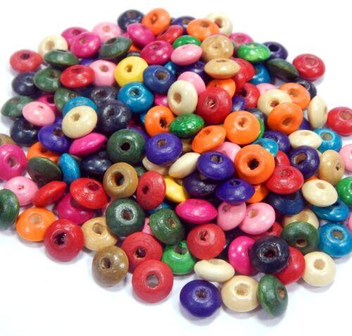 400 Holzperlen 10mm Donut Rondell Bunt Mix Bastelholz Schmuckherstellung H53