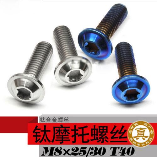 10pcs Titanium M8 × 25//30//40//60 mm Screws Dish shaped Button Head Bolts Torx