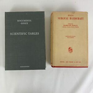 Vintage medicine book pair bundle Pyes surgical handicraft and scientific tables