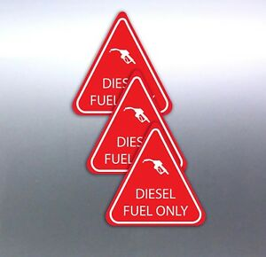 3-DIESEL-FUEL-ONLY-stickers-red-and-white-triangle-vinyl-7yr-quality-50mm-cars