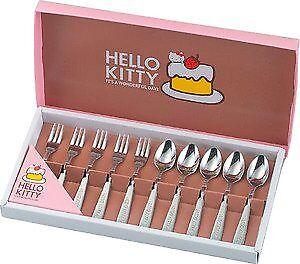 JapanBargain Hello Kitty Sanrio Kitchen Spoon and Fork Flatware Set/Boxset, 10