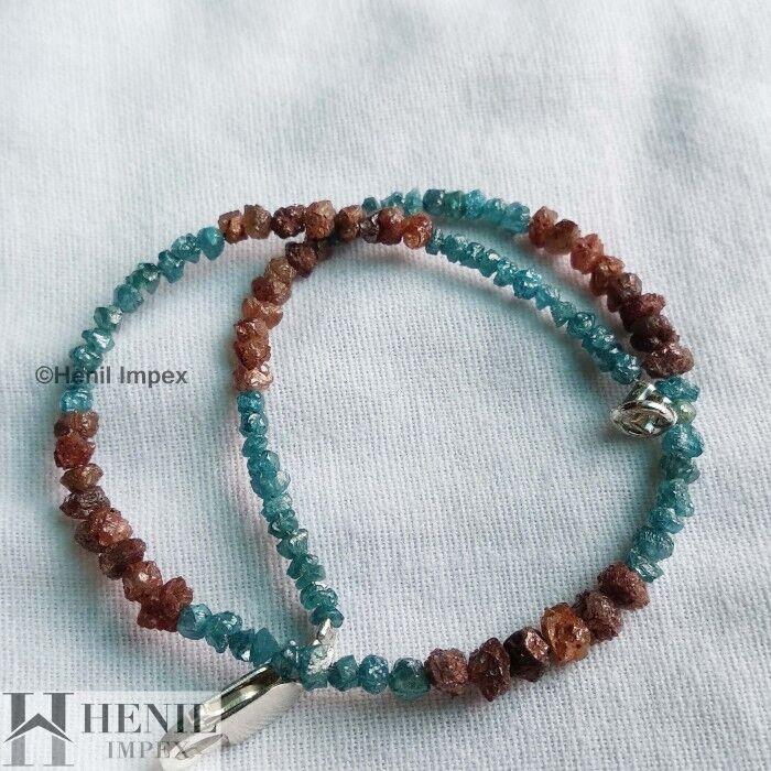 8.07 Ct Natural Loose Diamond   Red & bluee Rough Diamond Beads 6.50  Bracelet