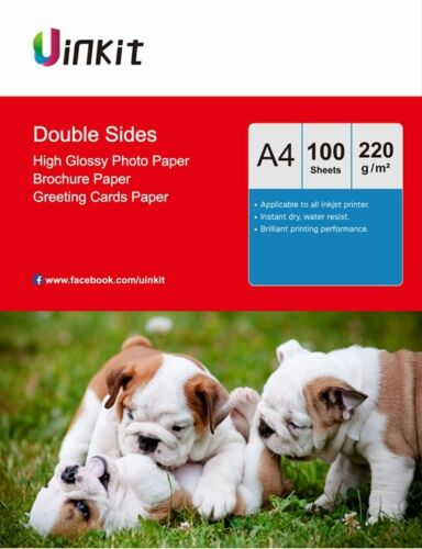 100Sheets A4 Double Sides High Glossy Inkjet Paper Photograph Paper Uinkit