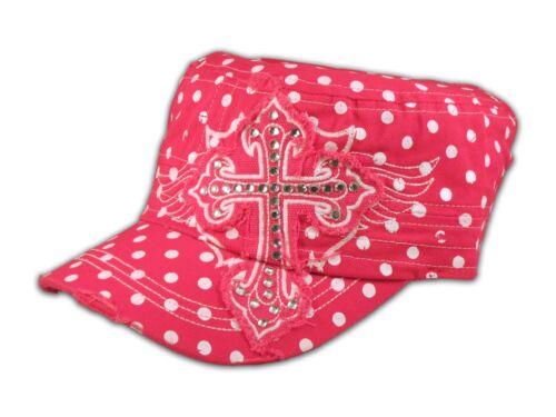 Cross on Pink Polka Dot Cadet Cap Military Hat Distressed Visor