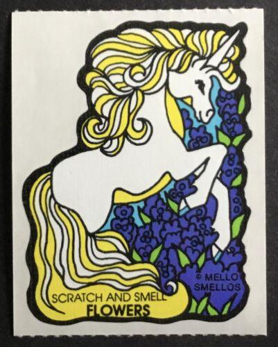Excellent!! Unicorn Flowers Vintage Scratch /& Sniff Stickers Mello Smello
