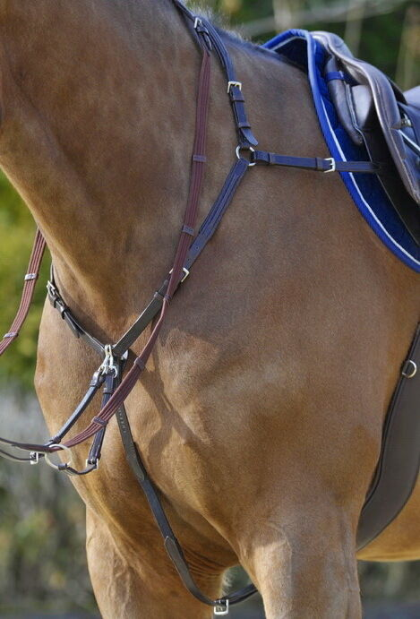 STUBBEN 1059 German Elasticated 3 POINT Side Fit Running Martingale Breastplate