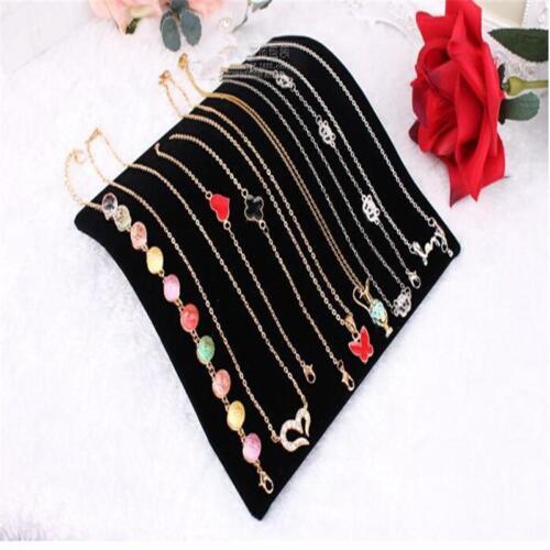 Black Velvet Necklace Chain Pendant Display Jewelry Organizer Stand Holder~