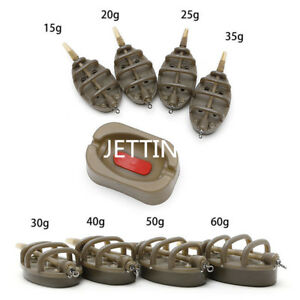 Inline-Method-Carp-Fishing-Feeder-4-Feeders-15-20-25-35g-amp-30-40-50-60g-Moul-LFI
