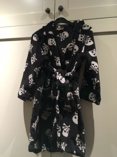 debenhams Blue Zoo Dressing Gown Black Skulls Age 7-8 Vgc