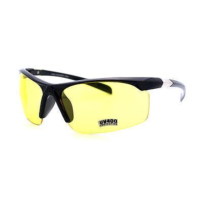 Driving Sunglasses Half Rim Sport Wrap Frame Black, Yellow Lens