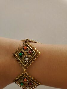 Square-Link-Bracelet-and-Necklace-Set-Orange-Green-Red-and-White-Beads-Gold-Tone