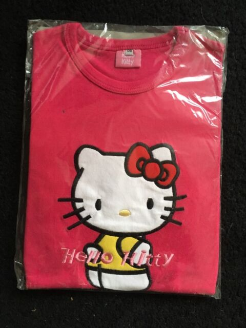 Hello Kitty character Applique Embroidery Bright Pink  top girls age 7-8 yrs New