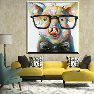 Hand-Painted-Modern-Abstract-Cartoon-Animal-Piggy-Glasses-Oil-Painting-On-Canvas