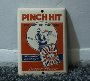 VINTAGE-PINCH-HIT-PORCELAIN-GASOLINE-OIL-SIGN-GAS-STATION-PUMP-TOBACCO-RARE-AD