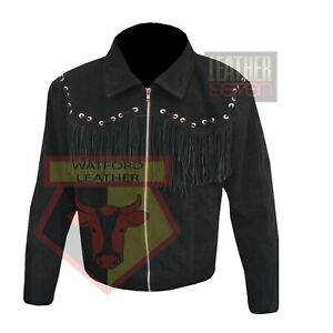 AMERICAN-WESTERN-STYLE-1060-BLACK-FRINGE-BEADED-TASSELED-SUEDE-LEATHER-JACKET