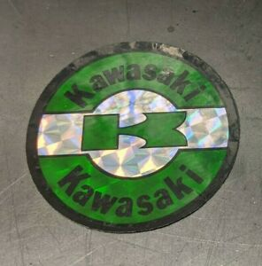 KAWASAKI-ROUND-PRISM-VINTAGE-DECAL-STICKER-Canadian-Seller