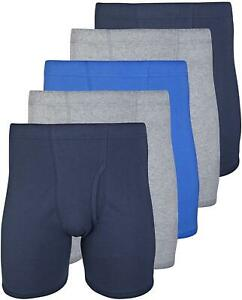 Gildan Men's Covered Waistband Boxer Brief 4 Pack,, Mixed Royal, Size XX-Large