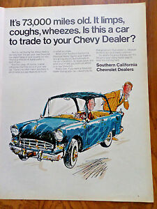 1968 Southern California Chevrolet Dealers Ad It S 73 000 Miles Old Trade Chevy Ebay