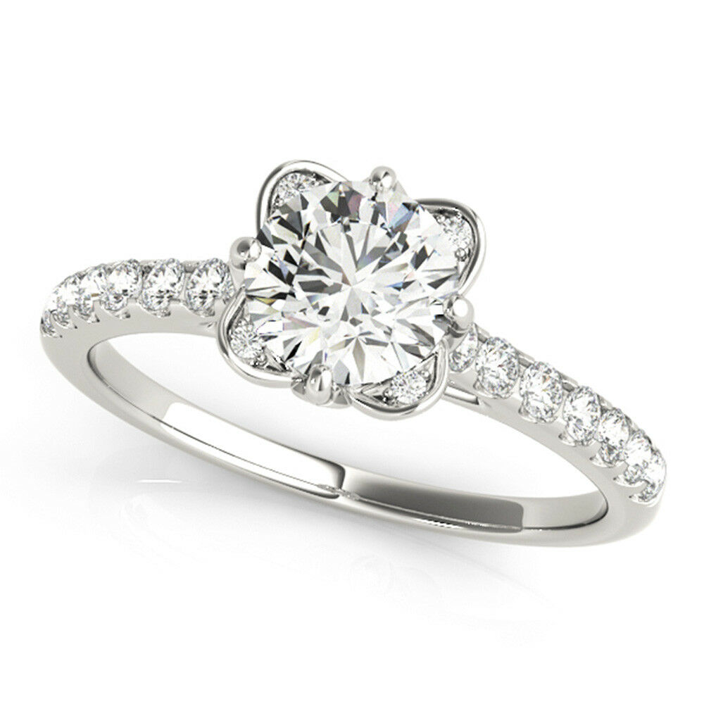 0.70 Ct Round Real Diamond Engagement Ring 14K Solid White gold Size 5 6 7 7.5 8