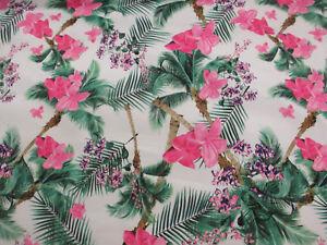 Rosa-Hawai-Floral-Superior-Saten-Algodon-Mezcla-Estampado-Tejido