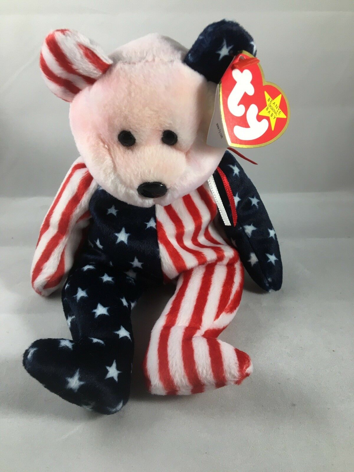 1999 Ty Original Beanie Babies SPANGLE The Patriotic Bear Red Face w Tags (9 )