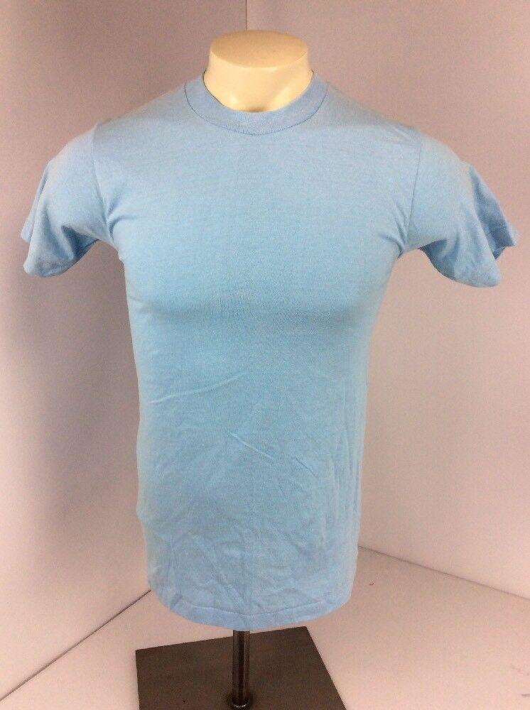 VTG 70s Anvil Solid SKY BABY blueE T-Shirt S USA MADE BLANK EUC Single Stitch