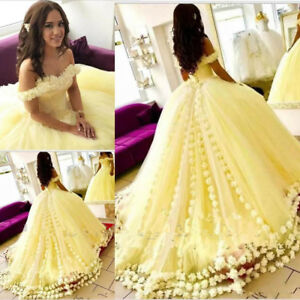 Off Shoulder Yellow Quinceanera Dress Floral Evening Prom Gown Bride Ball Gown Ebay