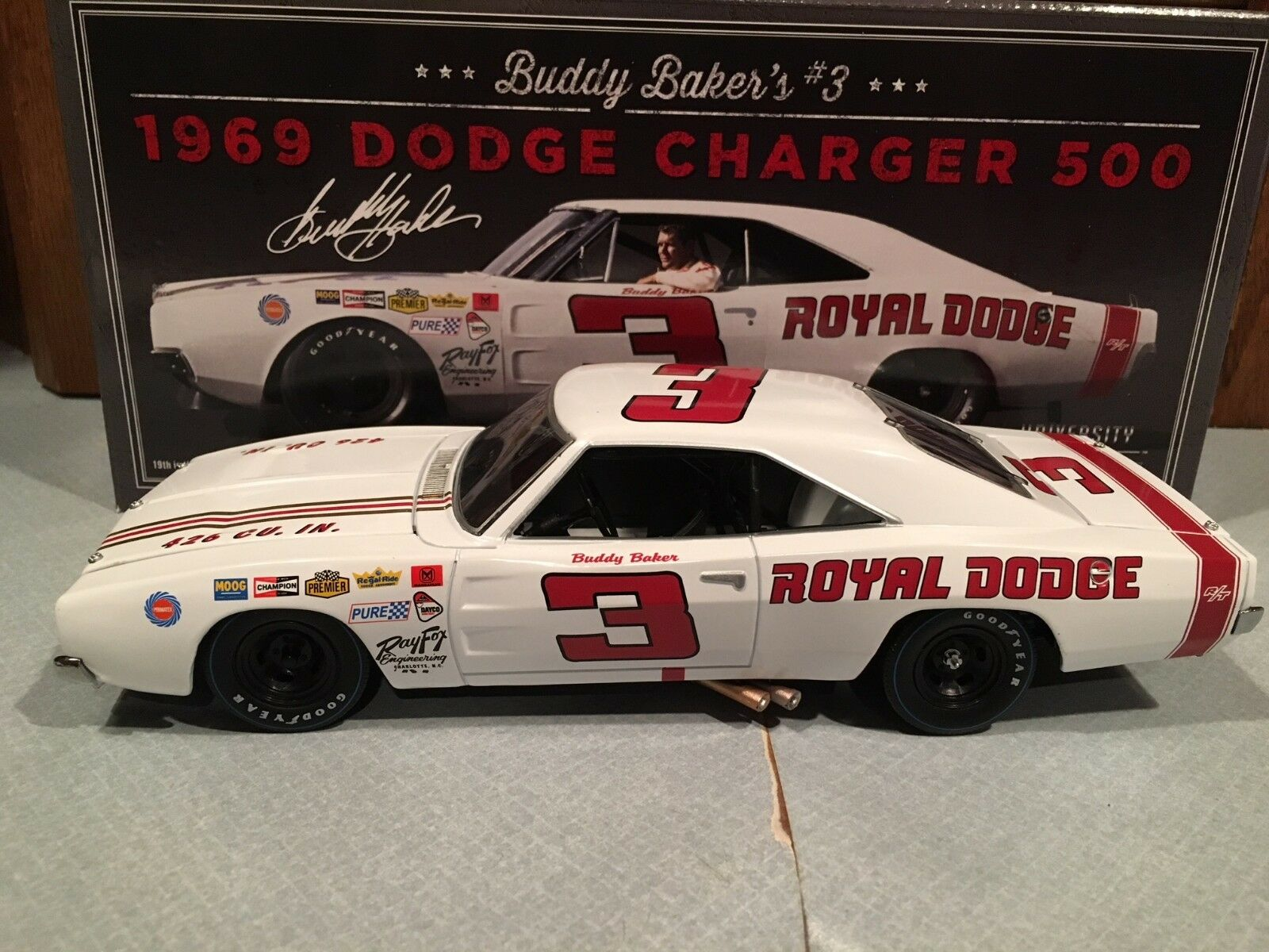 University of Racing 1969 Buddy Baker  3 Royal Dodge Cochegador 500 1 24