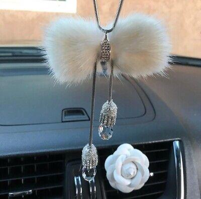 Interior Car Rear View Mirror Pendant Crystal Moon Fish Car Hanging Ornament ONE