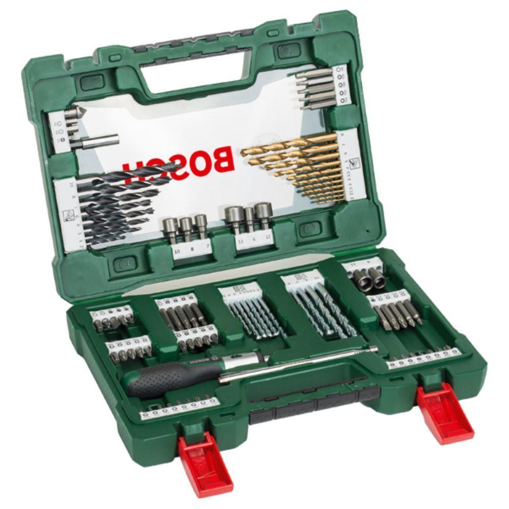 BOSCH V-Line TiN-Bohrer- und Bit-Set, 91-teilig mit Ratsche und Magnetstab