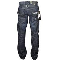 Mens Enzo By Eto Dark Blue Fashion Jean Great Detal Ez 244 - Dark Blue Denim