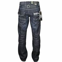 Mens Enzo By Eto Dark Blue Fashion Jean Great Detal Ez 244 - Dark Blue Denim