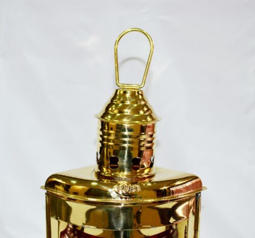 "10/"" NAUTICAL BRASS RED PORT LANTERN SHIP OIL LAMP Maritime Boat Light"