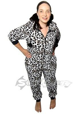 Ladies Animal Print Hooded Onesies All in One Fleece Pyjama Onesie Onezee