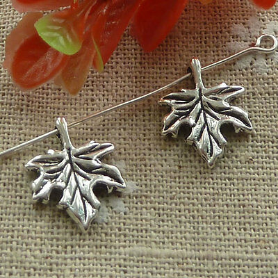 Free Ship 240 pieces tibetan silver maple leaf charms 17x14mm #1268