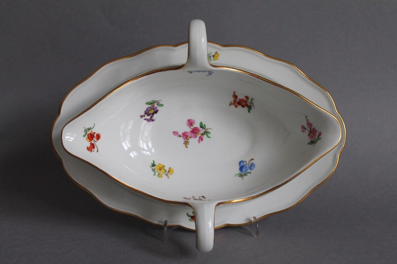 Image 1 - Large-Gravy-Boat-with-fixed-lower-1-Choice-Meissen-Scattered-Floral-Flower