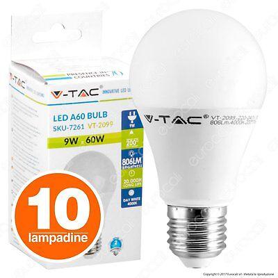 10 LAMPADINE LED V-Tac Bulbo E27 da 9W a 24W Lampade Luce Calda Naturale Fredda
