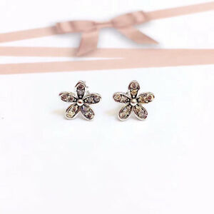 Genuine-925-Sterling-Silver-Women-9mm-Crystal-Flower-Stud-Earrings-Vintage-Look