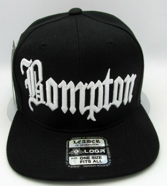 a4220f0494652 BOMPTON Snapback Cap Hat Compton Rap Hip Hop Flat Bill Caps Hats Black NWT