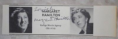 Margaret Hamilton Wizard Of Oz Signed Star Agency Book Clip W/photo W/ Coa Autographs-original Movies