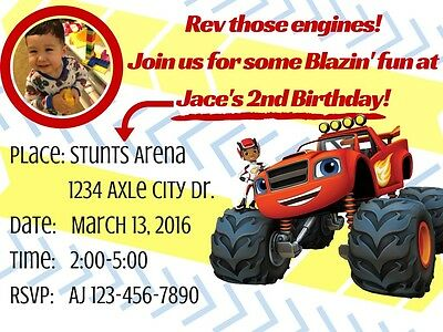Blaze And The Monster Machines Printable Personal Photo Birthday Invitation