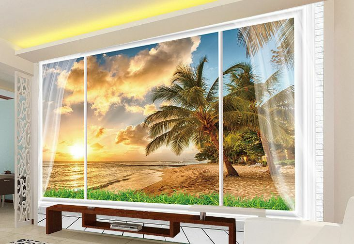 Huge 3D Sunset Window Wall Paper Wall Print Decal Wall Deco Indoor wall Home